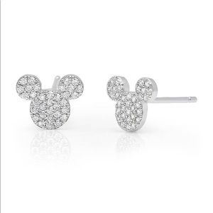NWT Mickey Mouse Sterling Silver CZ Embossed Studs
